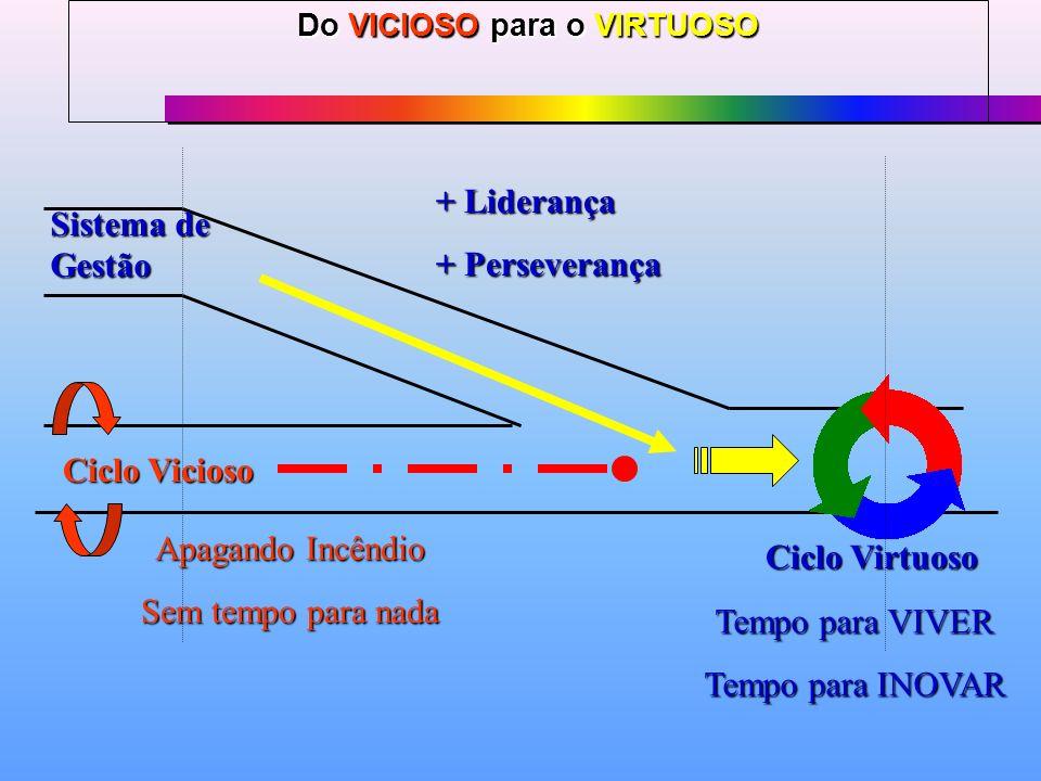 Do VICIOSO para o VIRTUOSO Ciclo Vicioso Sistema de Gestão Ciclo Virtuoso + Liderança + Perseverança Apagando Incêndio Sem tempo para nada Tempo para