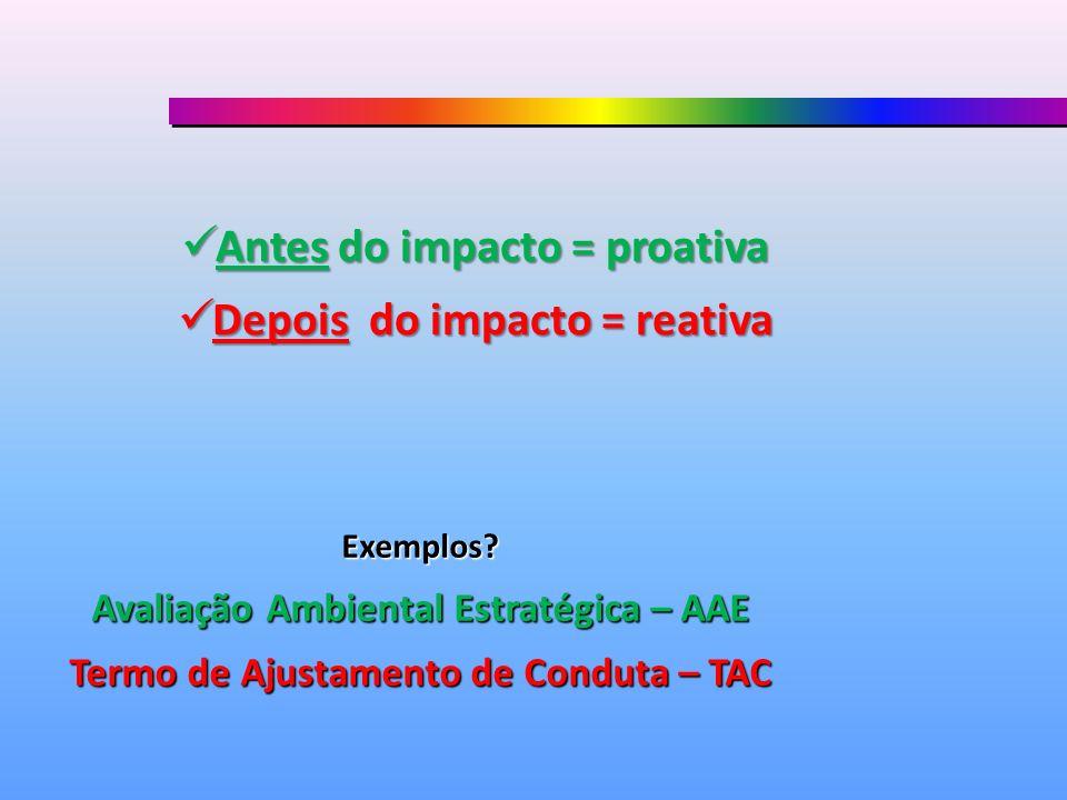 Antes do impacto = proativa Antes do impacto = proativa Depois do impacto = reativa Depois do impacto = reativa Exemplos? Avaliação Ambiental Estratég