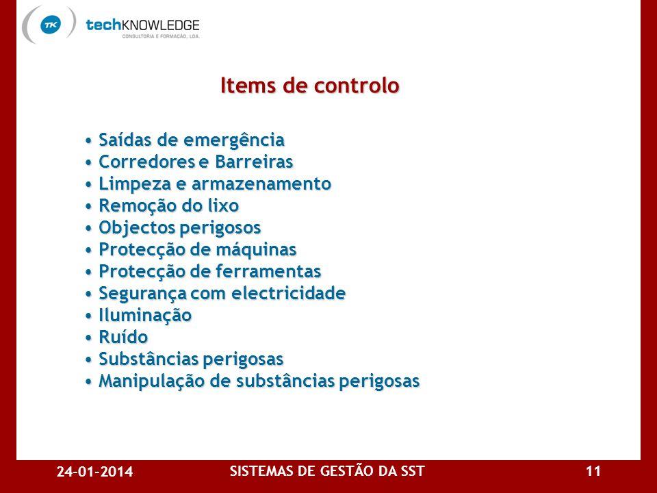 24-01-2014 SISTEMAS DE GESTÃO DA SST10 Em resumo: Acidentes de trabalho Acidentes de trabalho Higiene industrial Higiene industrial Segurança de pesso