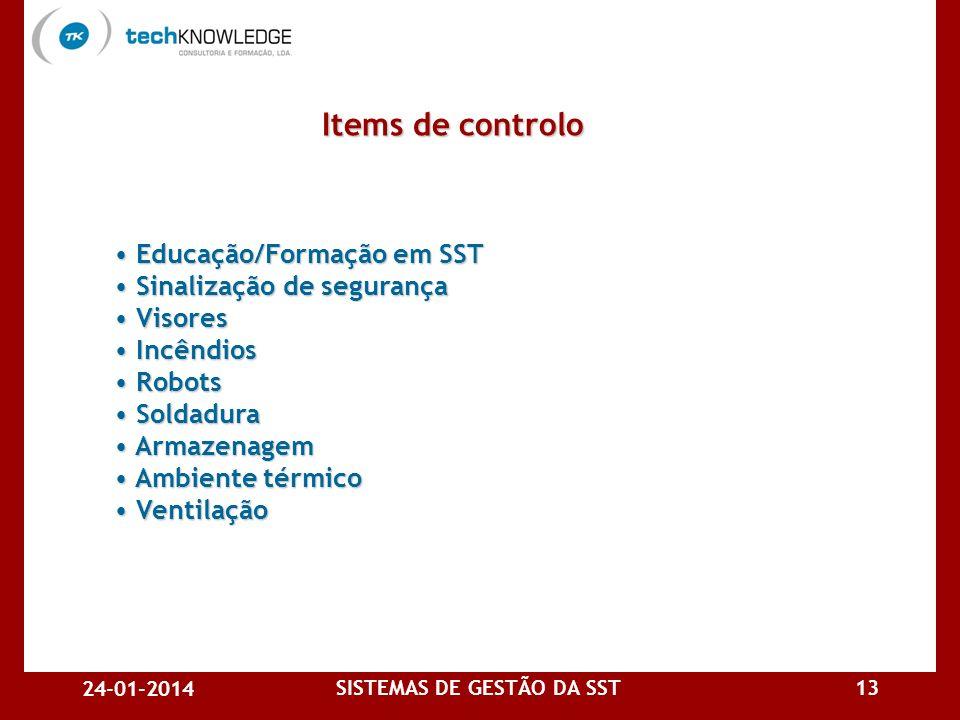 24-01-2014 SISTEMAS DE GESTÃO DA SST12 EPI EPI Elevação de cargas e posturas Elevação de cargas e posturas Altura de superfícies de trabalho Altura de