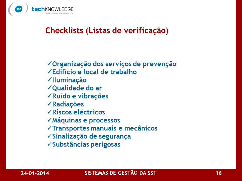24-01-2014 SISTEMAS DE GESTÃO DA SST15 Documentação de apoio a auditorias 1.Documentação técnica e bibliografia de consulta Técnicas de auditoriaTécni