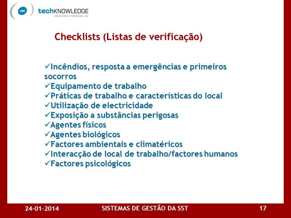 24-01-2014 SISTEMAS DE GESTÃO DA SST16 Checklists (Listas de verificação) Checklists (Listas de verificação) Organização dos serviços de prevenção Org