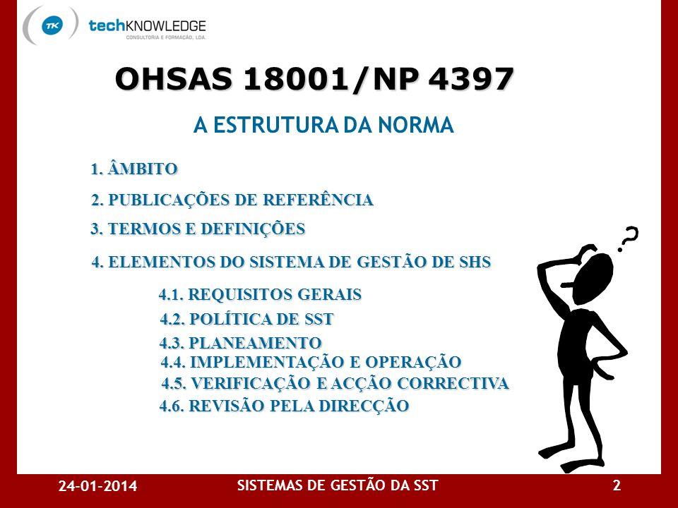 24-01-2014 SISTEMAS DE GESTÃO DA SST2 A ESTRUTURA DA NORMA 4.1.