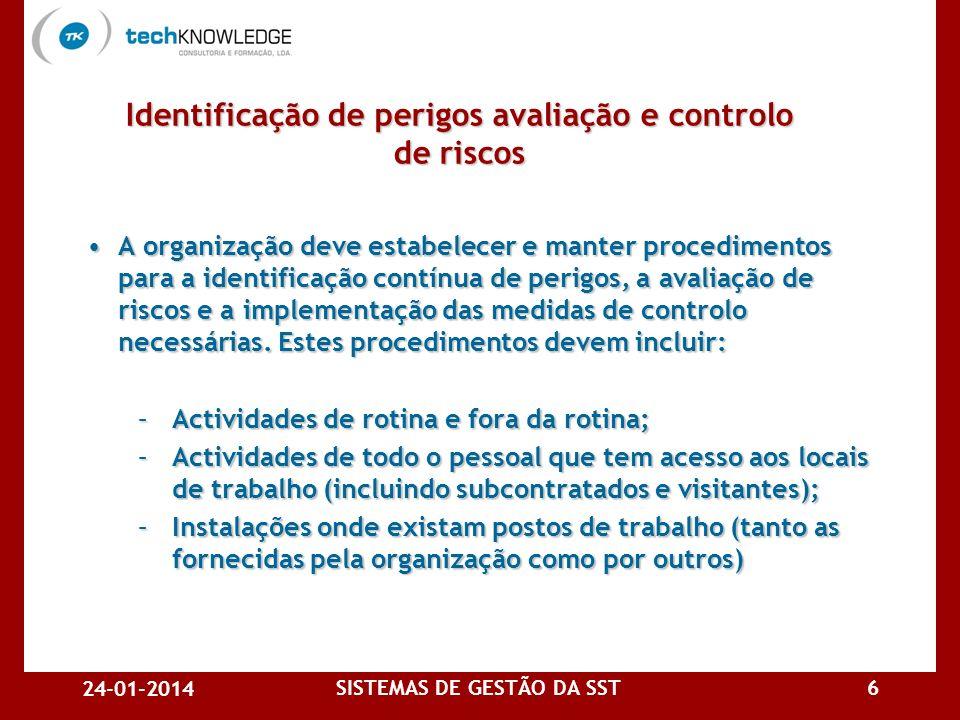 24-01-2014 SISTEMAS DE GESTÃO DA SST5 Demonstrar essa conformidade a terceiros Demonstrar essa conformidade a terceiros Obter a certificação por terce