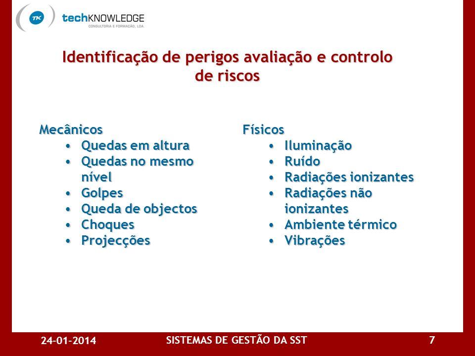24-01-2014 SISTEMAS DE GESTÃO DA SST6 Identificação de perigos avaliação e controlo de riscos A organização deve estabelecer e manter procedimentos pa