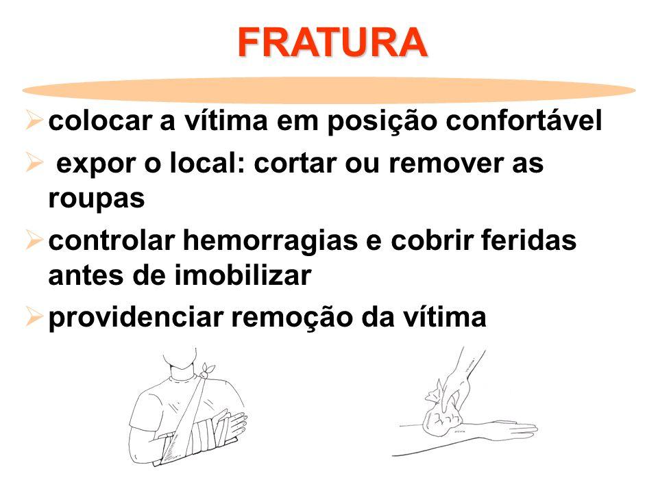 FRATURA colocar a vítima em posição confortável expor o local: cortar ou remover as roupas controlar hemorragias e cobrir feridas antes de imobilizar