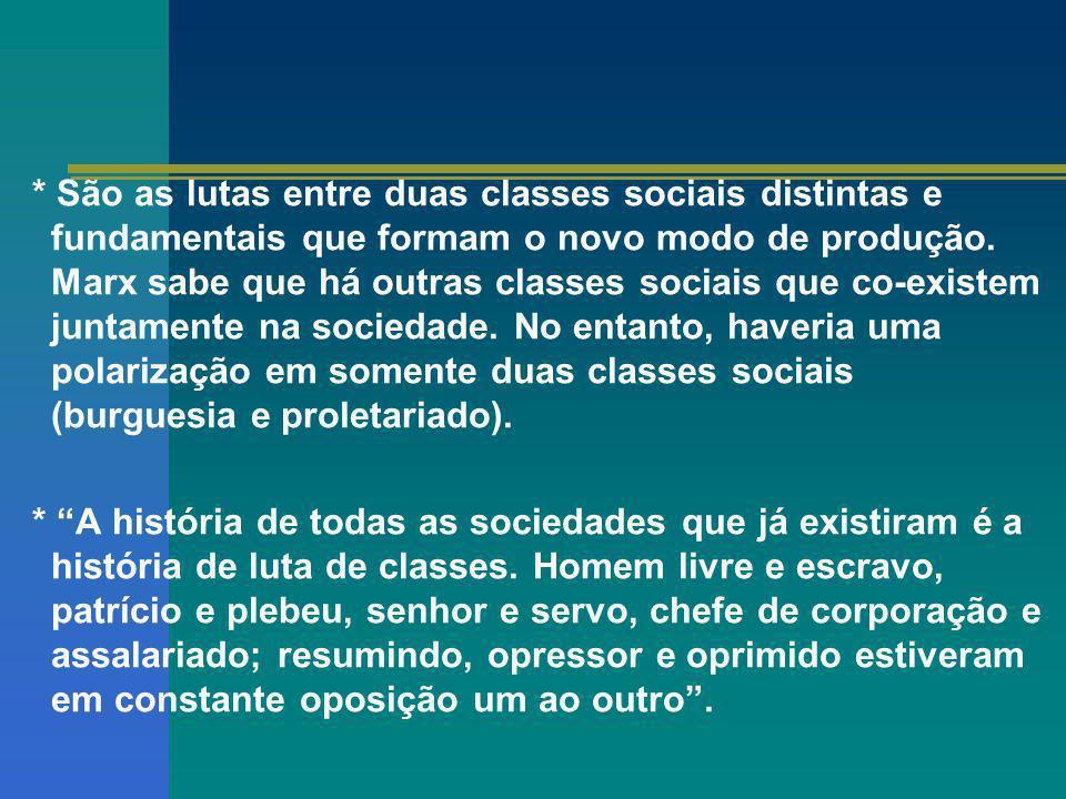 * São as lutas entre duas classes sociais distintas e fundamentais que formam o novo modo de produção. Marx sabe que há outras classes sociais que co-