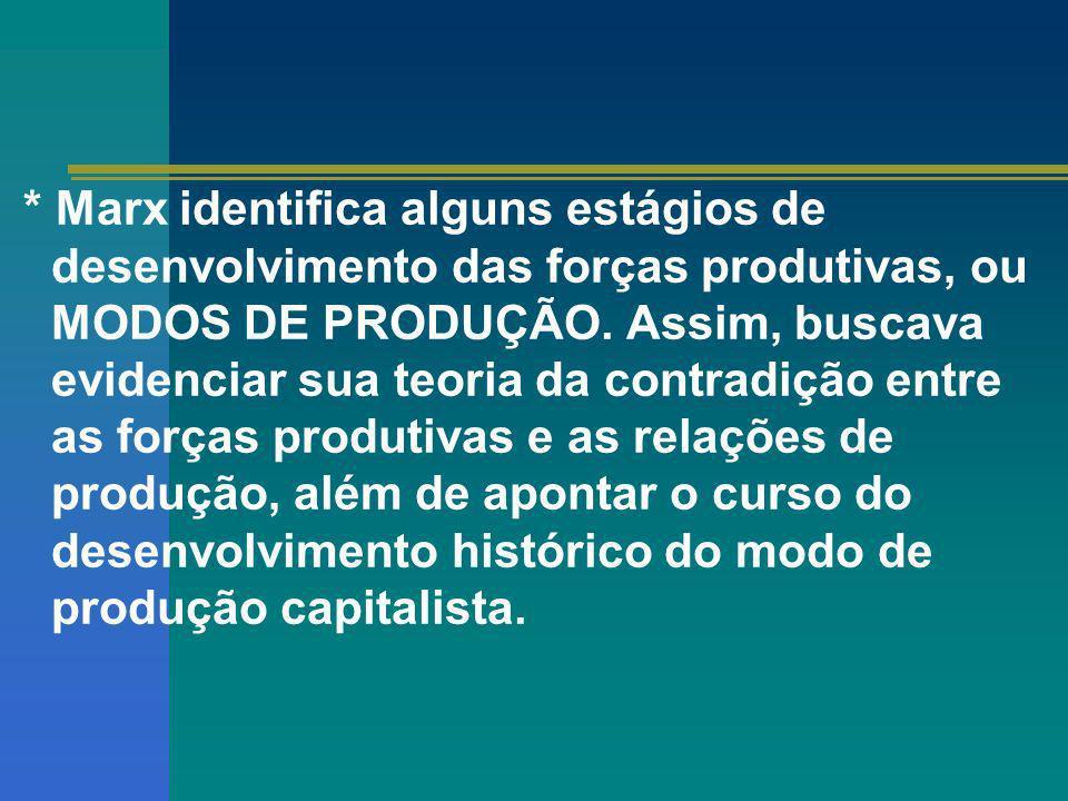 * Marx identifica alguns estágios de desenvolvimento das forças produtivas, ou MODOS DE PRODUÇÃO. Assim, buscava evidenciar sua teoria da contradição