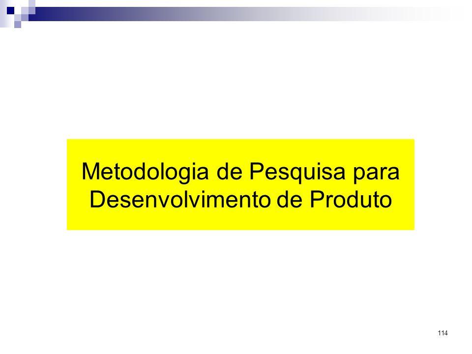 114 Metodologia de Pesquisa para Desenvolvimento de Produto
