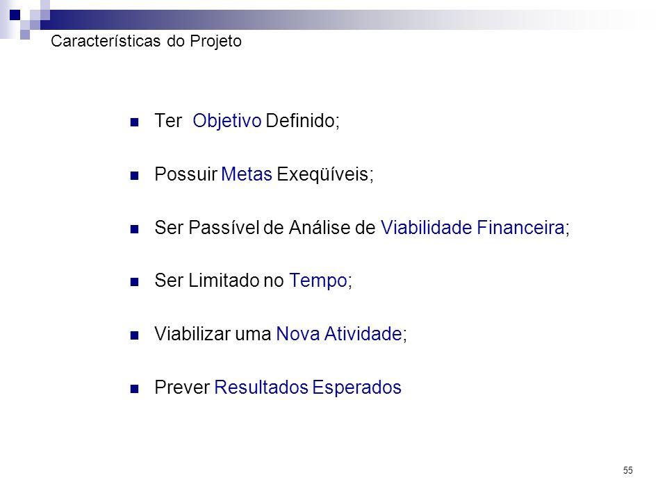 55 Características do Projeto Ter Objetivo Definido; Possuir Metas Exeqüíveis; Ser Passível de Análise de Viabilidade Financeira; Ser Limitado no Temp