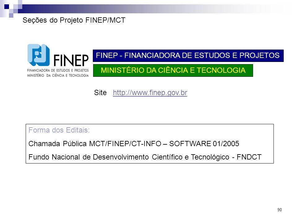 90 Seções do Projeto FINEP/MCT FINEP - FINANCIADORA DE ESTUDOS E PROJETOS MINISTÉRIO DA CIÊNCIA E TECNOLOGIA Site http://www.finep.gov.brhttp://www.fi