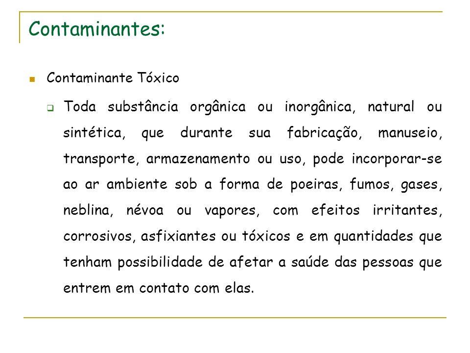 Contaminantes: Contaminante Tóxico Toda substância orgânica ou inorgânica, natural ou sintética, que durante sua fabricação, manuseio, transporte, arm