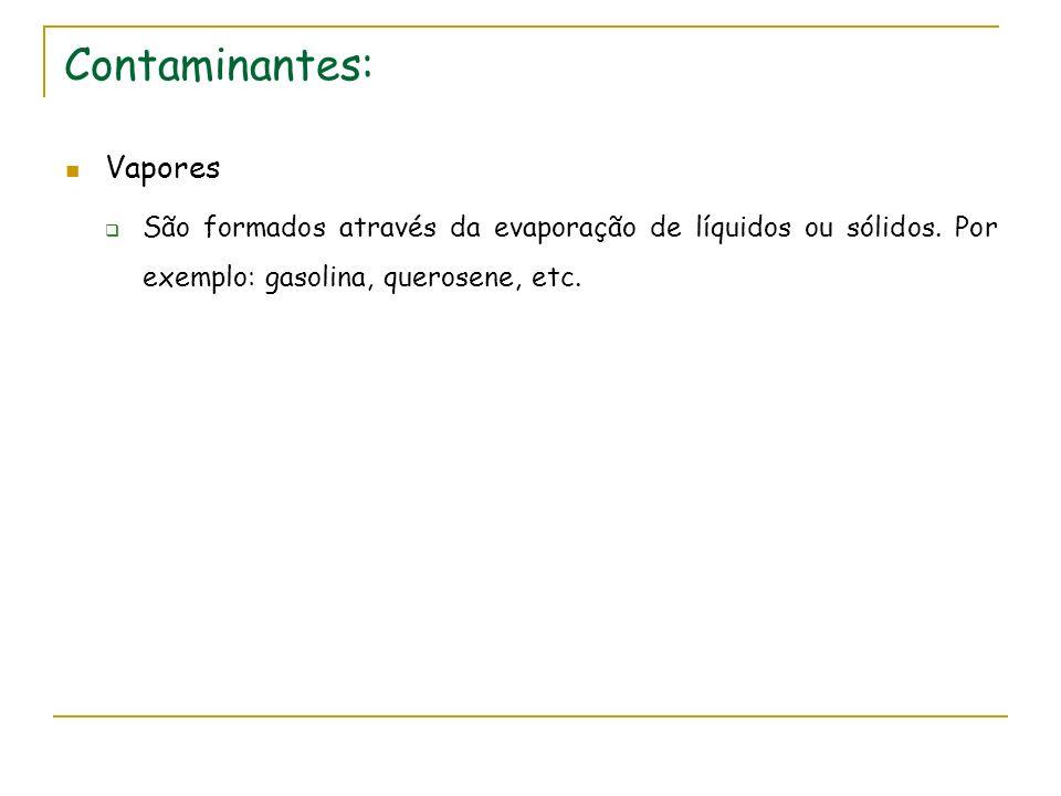 Contaminantes: Vapores São formados através da evaporação de líquidos ou sólidos. Por exemplo: gasolina, querosene, etc.