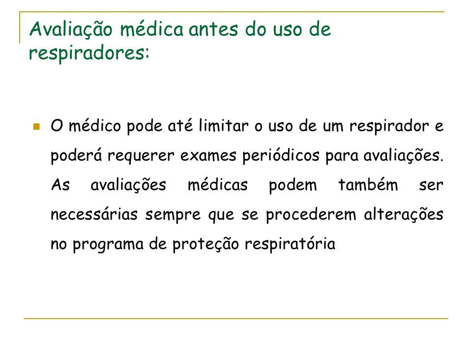 Avaliação médica antes do uso de respiradores: O médico pode até limitar o uso de um respirador e poderá requerer exames periódicos para avaliações. A
