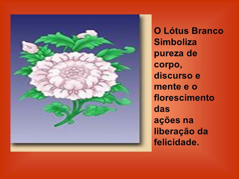 O Lótus Branco Simboliza pureza de corpo, discurso e mente e o florescimento das ações na liberação da felicidade.