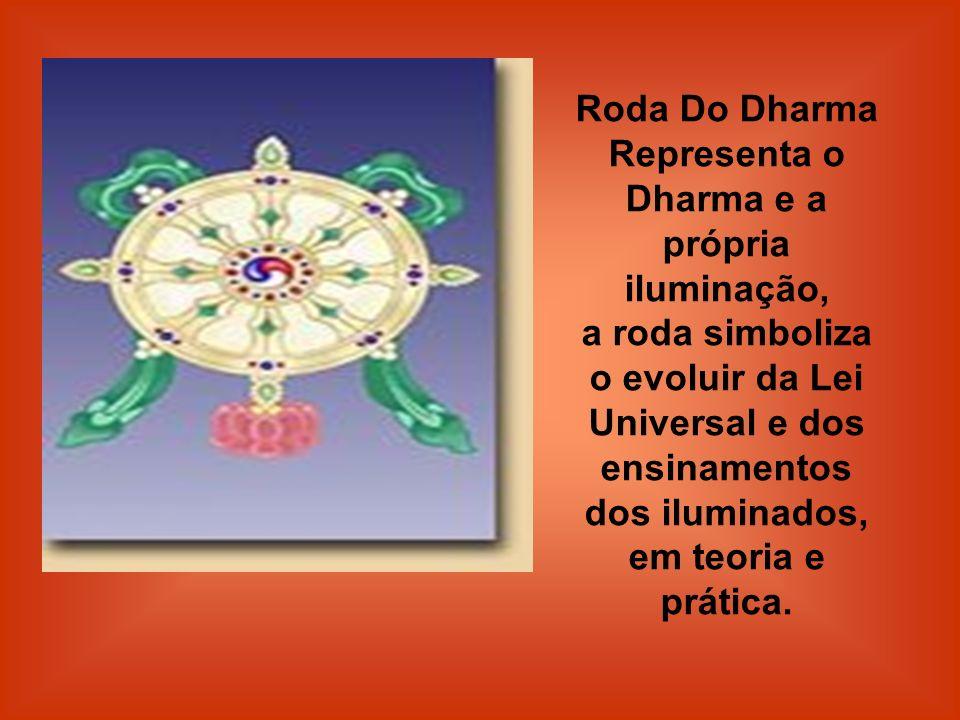 Roda Do Dharma Representa o Dharma e a própria iluminação, a roda simboliza o evoluir da Lei Universal e dos ensinamentos dos iluminados, em teoria e