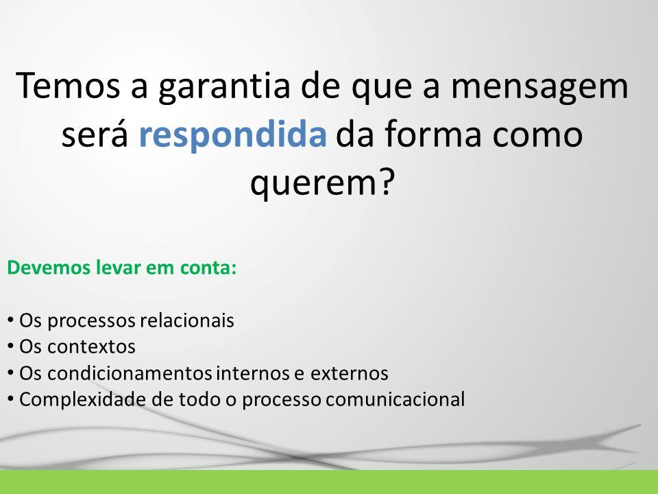 Temos a garantia de que a mensagem será respondida da forma como querem? Devemos levar em conta: Os processos relacionais Os contextos Os condicioname