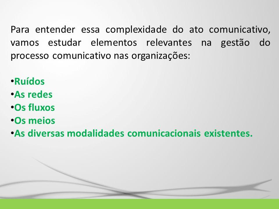 Para entender essa complexidade do ato comunicativo, vamos estudar elementos relevantes na gestão do processo comunicativo nas organizações: Ruídos As