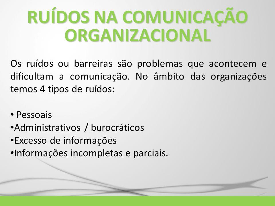 Os ruídos ou barreiras são problemas que acontecem e dificultam a comunicação. No âmbito das organizações temos 4 tipos de ruídos: Pessoais Administra