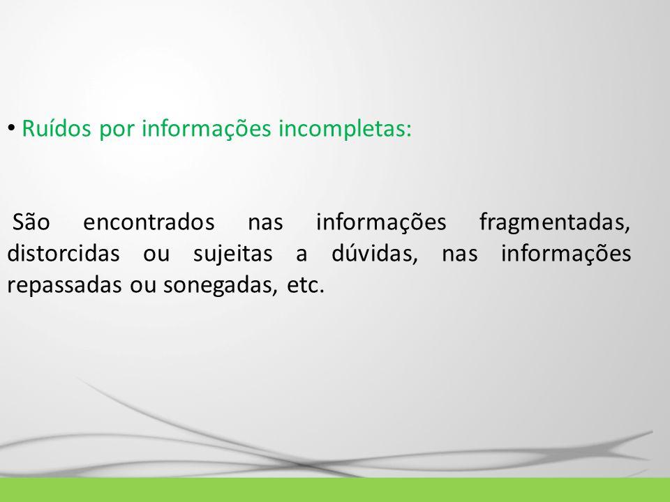 Ruídos por informações incompletas: São encontrados nas informações fragmentadas, distorcidas ou sujeitas a dúvidas, nas informações repassadas ou son