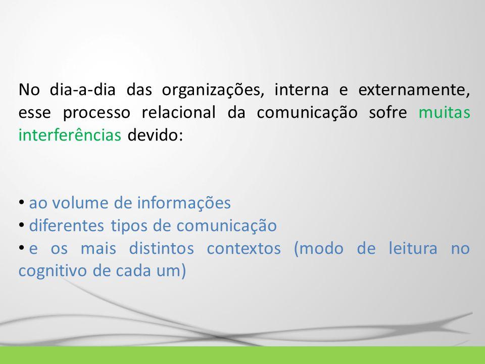 No dia-a-dia das organizações, interna e externamente, esse processo relacional da comunicação sofre muitas interferências devido: ao volume de inform