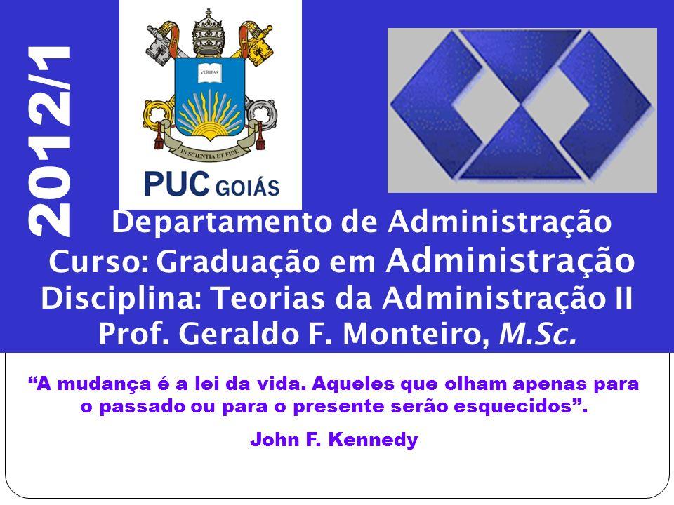 Departamento de Administração Curso: Graduação em Administração Disciplina: Teorias da Administração II Prof. Geraldo F. Monteiro, M.Sc. A mudança é a