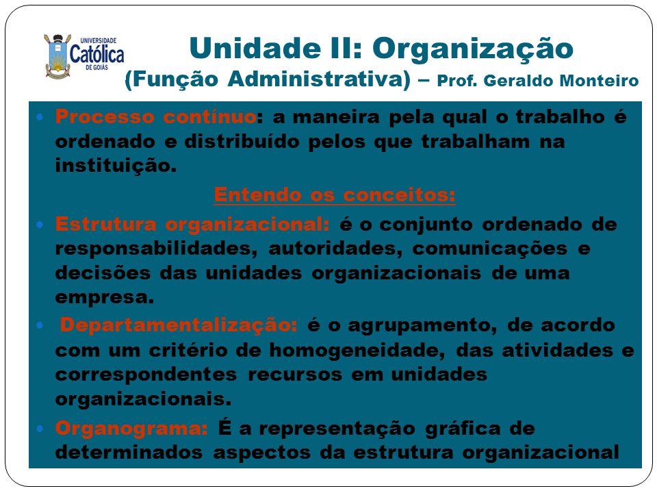Unidade II: Organização (Função Administrativa) – Prof. Geraldo Monteiro Processo contínuo: a maneira pela qual o trabalho é ordenado e distribuído pe