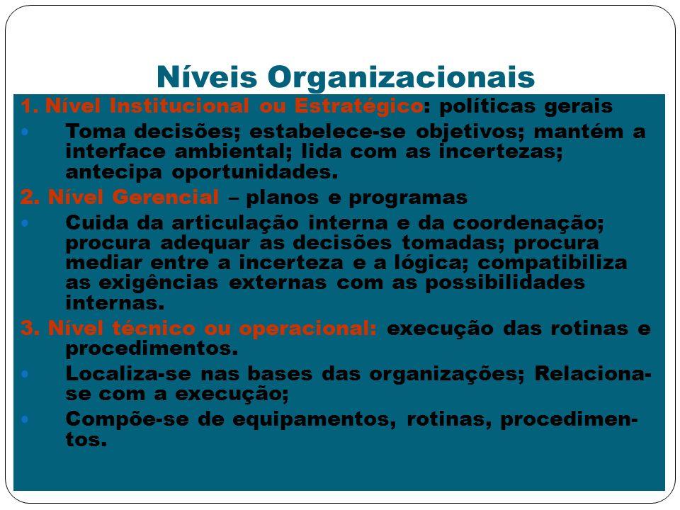 Níveis Organizacionais 1. Nível Institucional ou Estratégico: políticas gerais Toma decisões; estabelece-se objetivos; mantém a interface ambiental; l