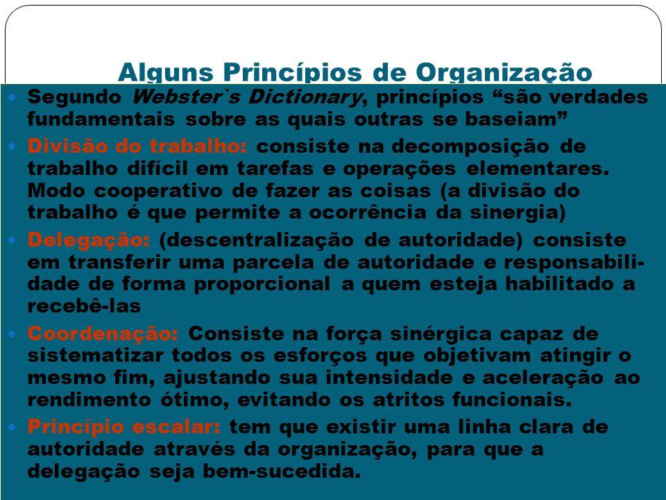 Alguns Princípios de Organização Segundo Webster`s Dictionary, princípios são verdades fundamentais sobre as quais outras se baseiam Divisão do trabal