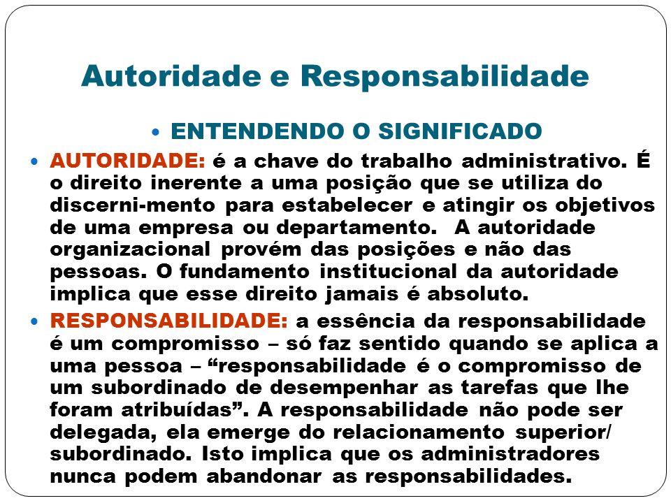 Autoridade e Responsabilidade ENTENDENDO O SIGNIFICADO AUTORIDADE: é a chave do trabalho administrativo. É o direito inerente a uma posição que se uti