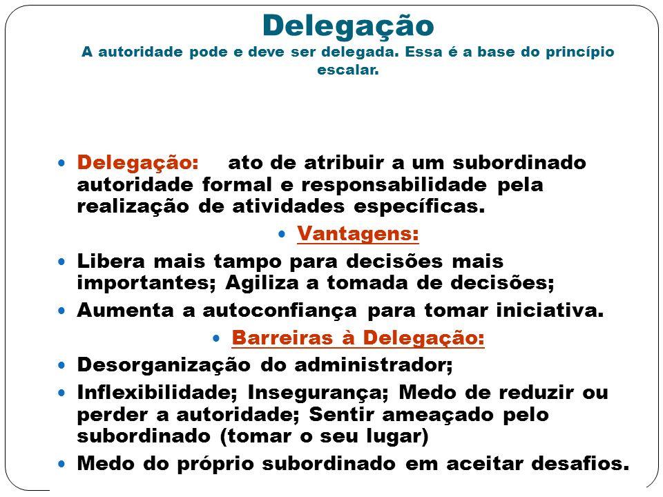 Delegação A autoridade pode e deve ser delegada. Essa é a base do princípio escalar. Delegação: ato de atribuir a um subordinado autoridade formal e r