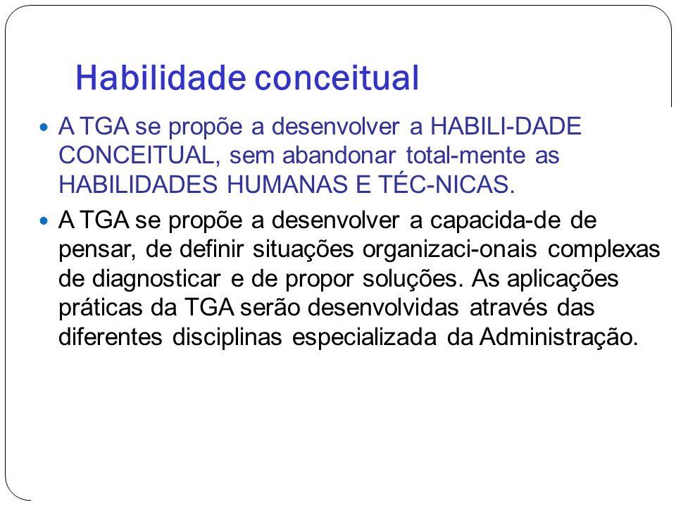 Habilidade conceitual A TGA se propõe a desenvolver a HABILI-DADE CONCEITUAL, sem abandonar total-mente as HABILIDADES HUMANAS E TÉC-NICAS. A TGA se p
