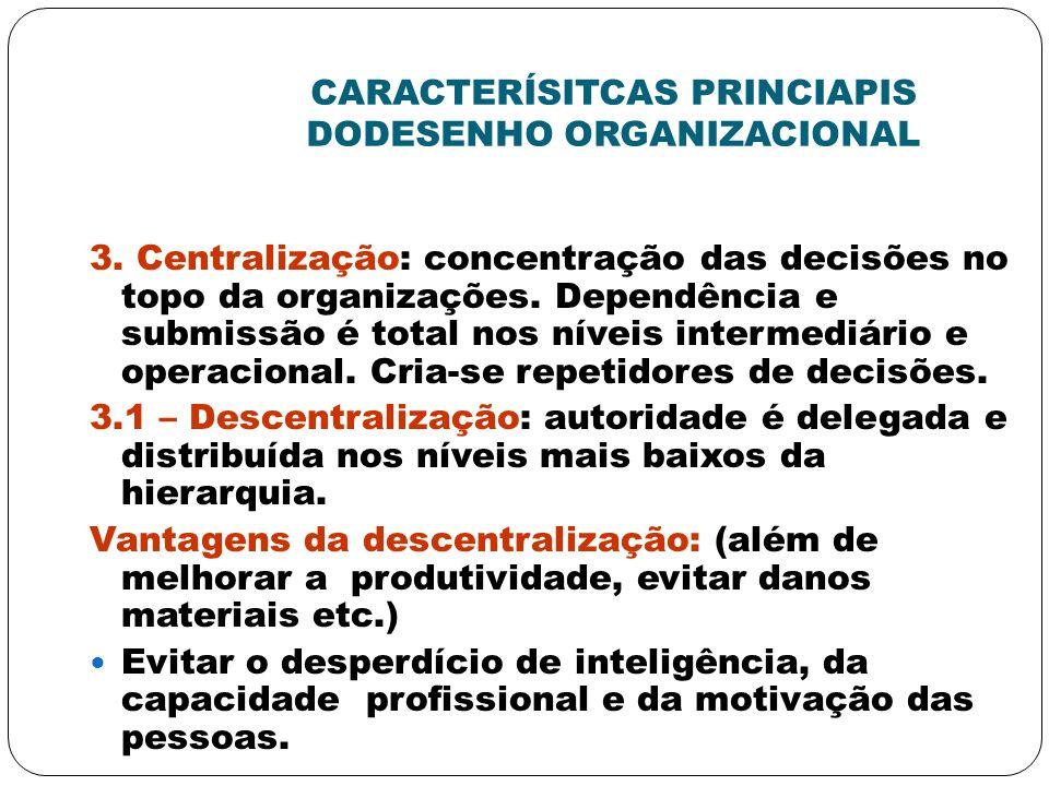 CARACTERÍSITCAS PRINCIAPIS DODESENHO ORGANIZACIONAL 3. Centralização: concentração das decisões no topo da organizações. Dependência e submissão é tot