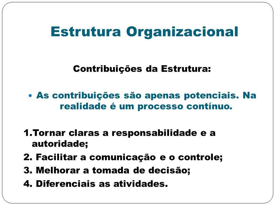 Estrutura Organizacional Contribuições da Estrutura: As contribuições são apenas potenciais. Na realidade é um processo contínuo. 1.Tornar claras a re