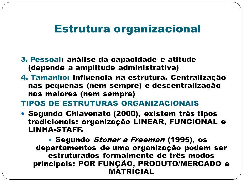 Estrutura organizacional 3. Pessoal: análise da capacidade e atitude (depende a amplitude administrativa) 4. Tamanho: Influencia na estrutura. Central