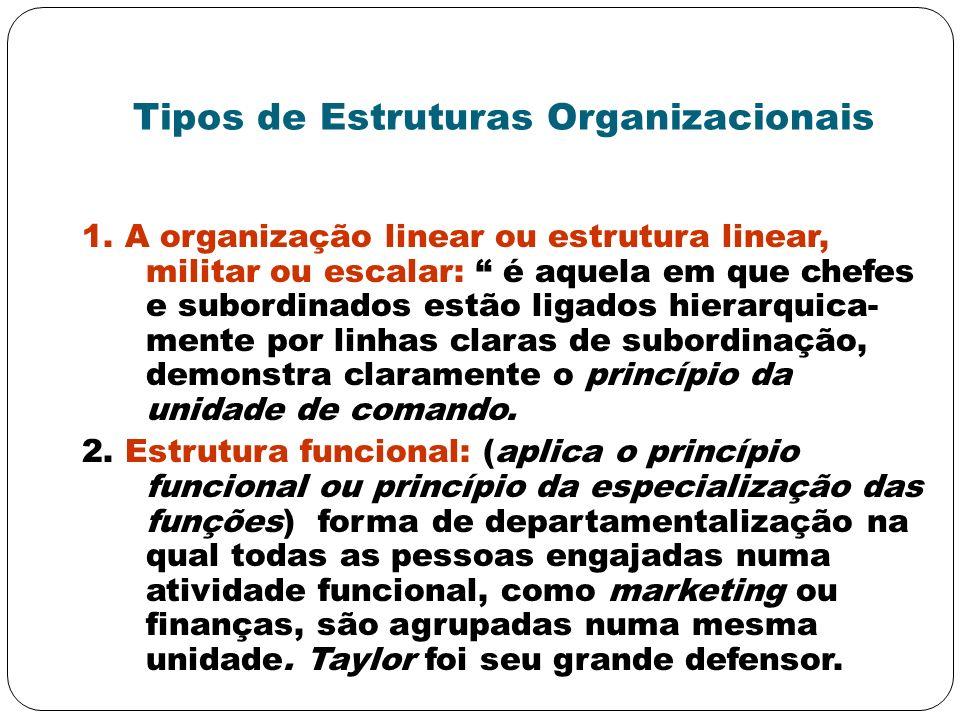 Tipos de Estruturas Organizacionais 1. A organização linear ou estrutura linear, militar ou escalar: é aquela em que chefes e subordinados estão ligad