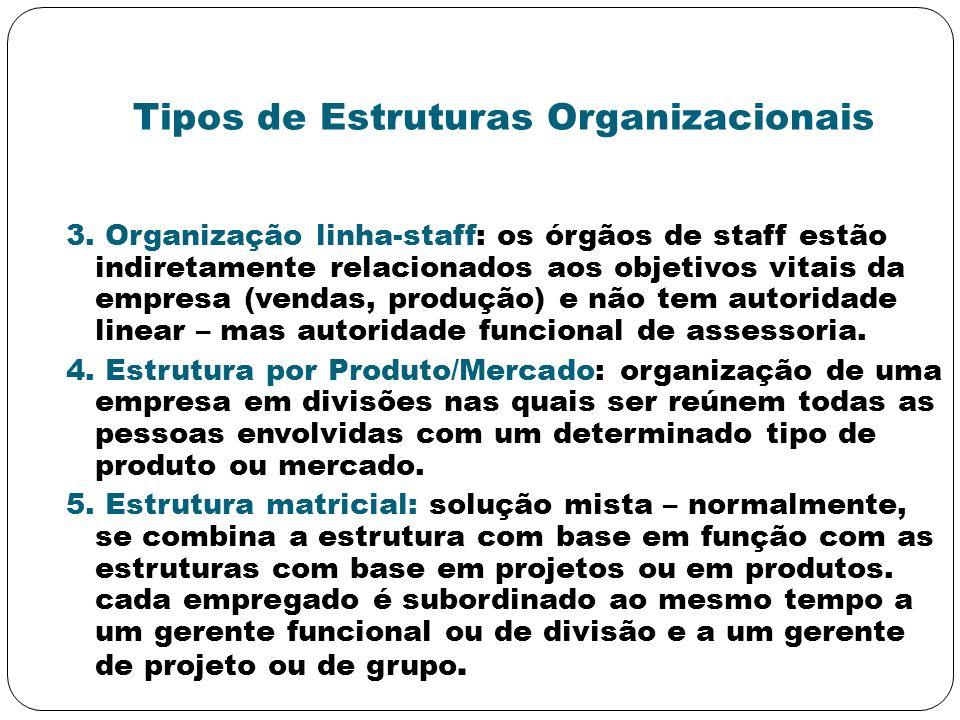 Tipos de Estruturas Organizacionais 3. Organização linha-staff: os órgãos de staff estão indiretamente relacionados aos objetivos vitais da empresa (v