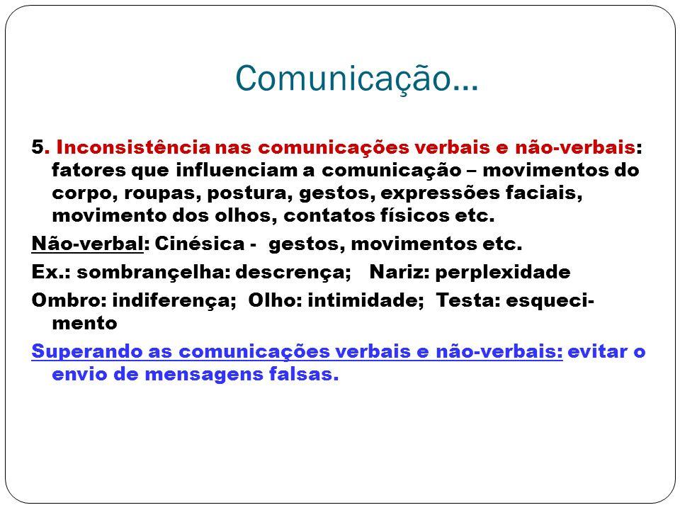 Comunicação... 5. Inconsistência nas comunicações verbais e não-verbais: fatores que influenciam a comunicação – movimentos do corpo, roupas, postura,