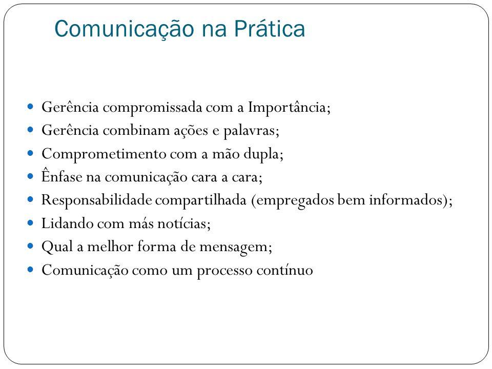 Comunicação na Prática Gerência compromissada com a Importância; Gerência combinam ações e palavras; Comprometimento com a mão dupla; Ênfase na comuni