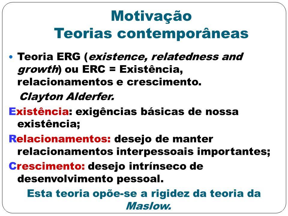 Motivação Teorias contemporâneas Teoria ERG (existence, relatedness and growth) ou ERC = Existência, relacionamentos e crescimento. Clayton Alderfer.