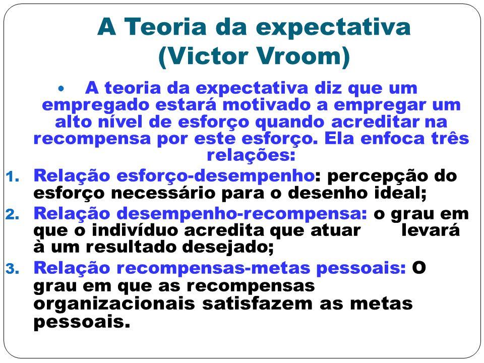 A Teoria da expectativa (Victor Vroom) A teoria da expectativa diz que um empregado estará motivado a empregar um alto nível de esforço quando acredit