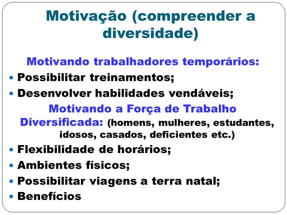 Motivação (compreender a diversidade) Motivando trabalhadores temporários: Possibilitar treinamentos; Desenvolver habilidades vendáveis; Motivando a F
