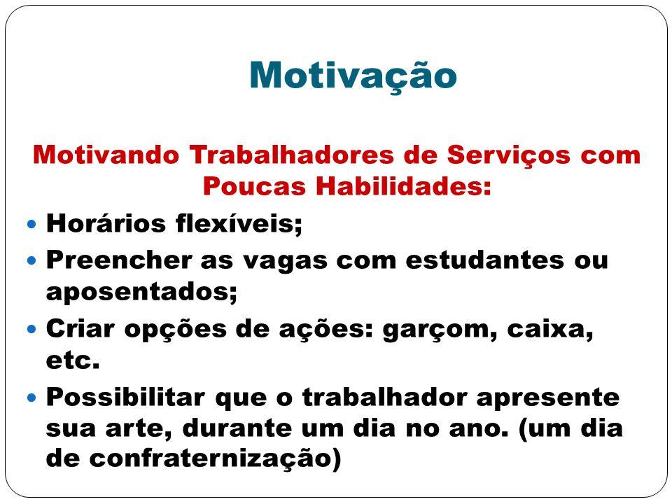 Motivação Motivando Trabalhadores de Serviços com Poucas Habilidades: Horários flexíveis; Preencher as vagas com estudantes ou aposentados; Criar opçõ