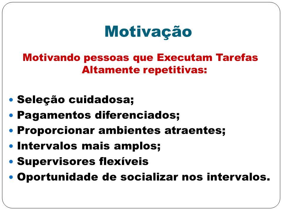 Motivação Motivando pessoas que Executam Tarefas Altamente repetitivas: Seleção cuidadosa; Pagamentos diferenciados; Proporcionar ambientes atraentes;
