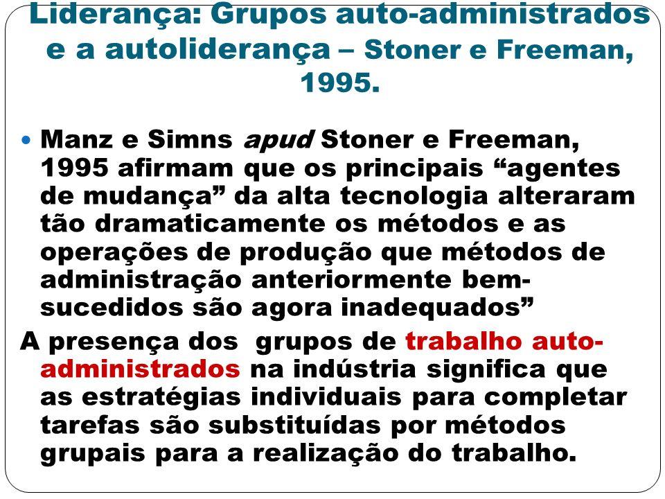 Liderança: Grupos auto-administrados e a autoliderança – Stoner e Freeman, 1995. Manz e Simns apud Stoner e Freeman, 1995 afirmam que os principais ag