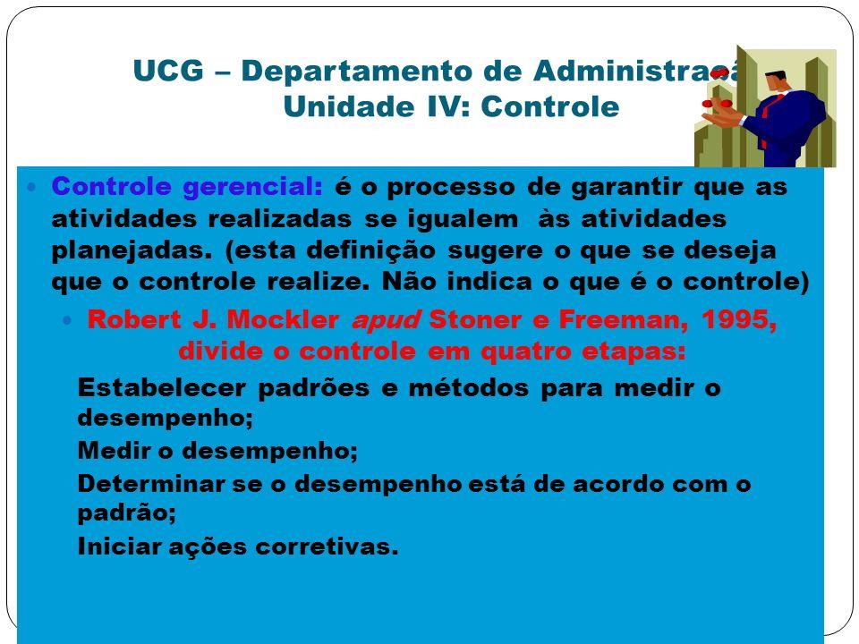 UCG – Departamento de Administração Unidade IV: Controle Controle gerencial: é o processo de garantir que as atividades realizadas se igualem às ativi