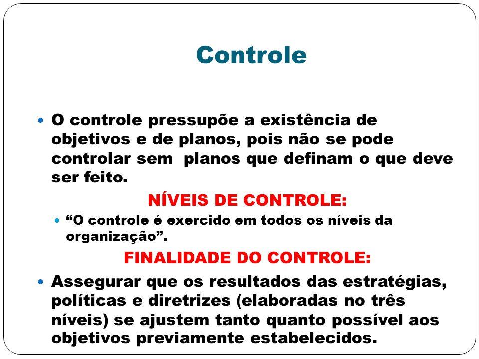Controle O controle pressupõe a existência de objetivos e de planos, pois não se pode controlar sem planos que definam o que deve ser feito. NÍVEIS DE