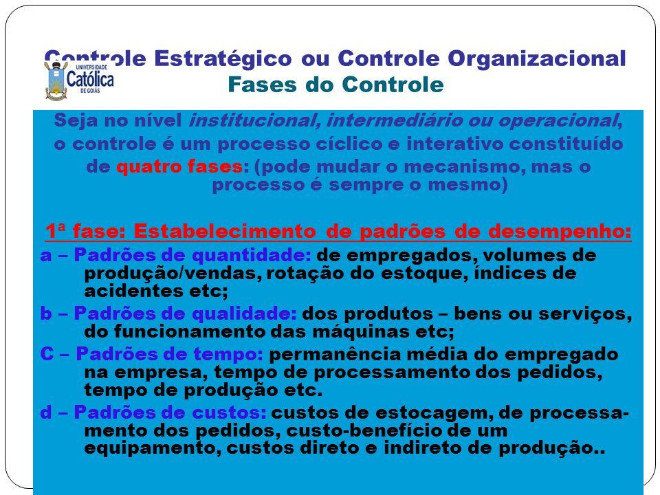 Controle Estratégico ou Controle Organizacional Fases do Controle Seja no nível institucional, intermediário ou operacional, o controle é um processo