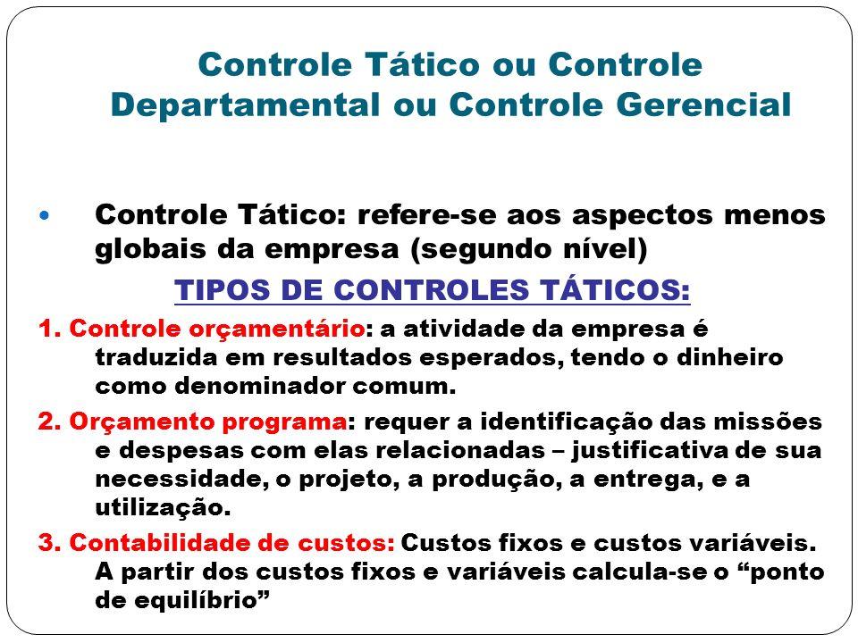 Controle Tático ou Controle Departamental ou Controle Gerencial Controle Tático: refere-se aos aspectos menos globais da empresa (segundo nível) TIPOS