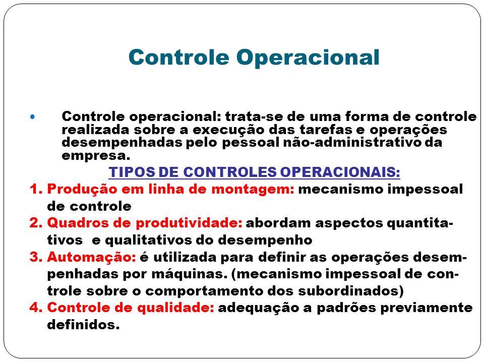Controle Operacional Controle operacional: trata-se de uma forma de controle realizada sobre a execução das tarefas e operações desempenhadas pelo pes